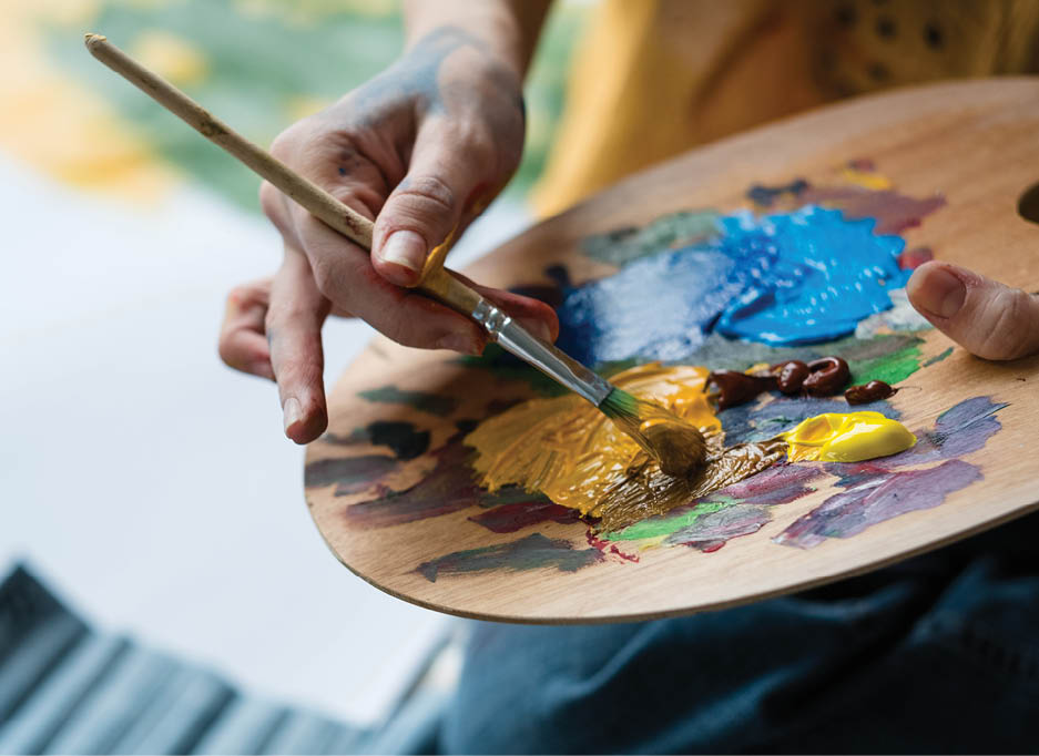 Performing and Visual Arts: A palette with different colored paints