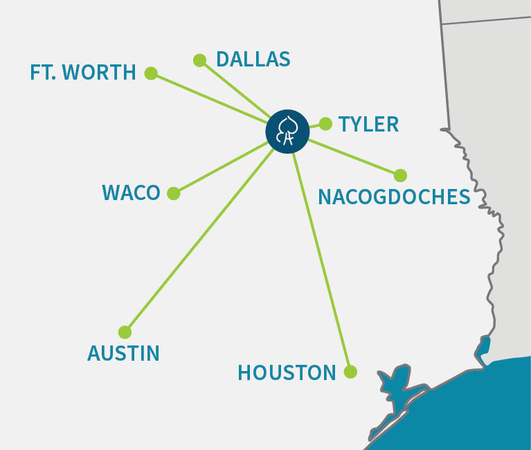 Map of distances to Bradley Oaks Ranch from cities in Texas