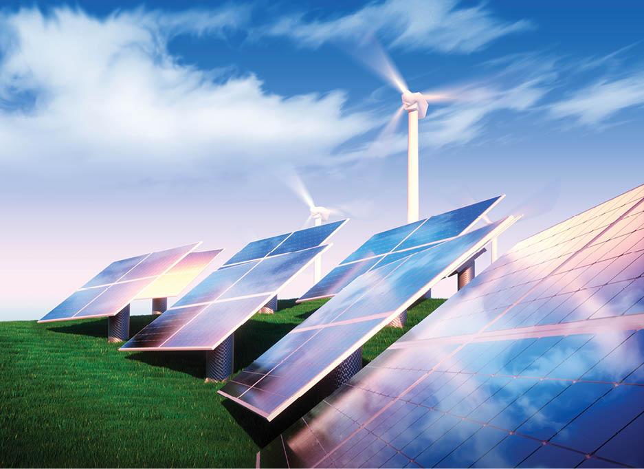 Sustainable Energy: Wind turbines and solar panels
