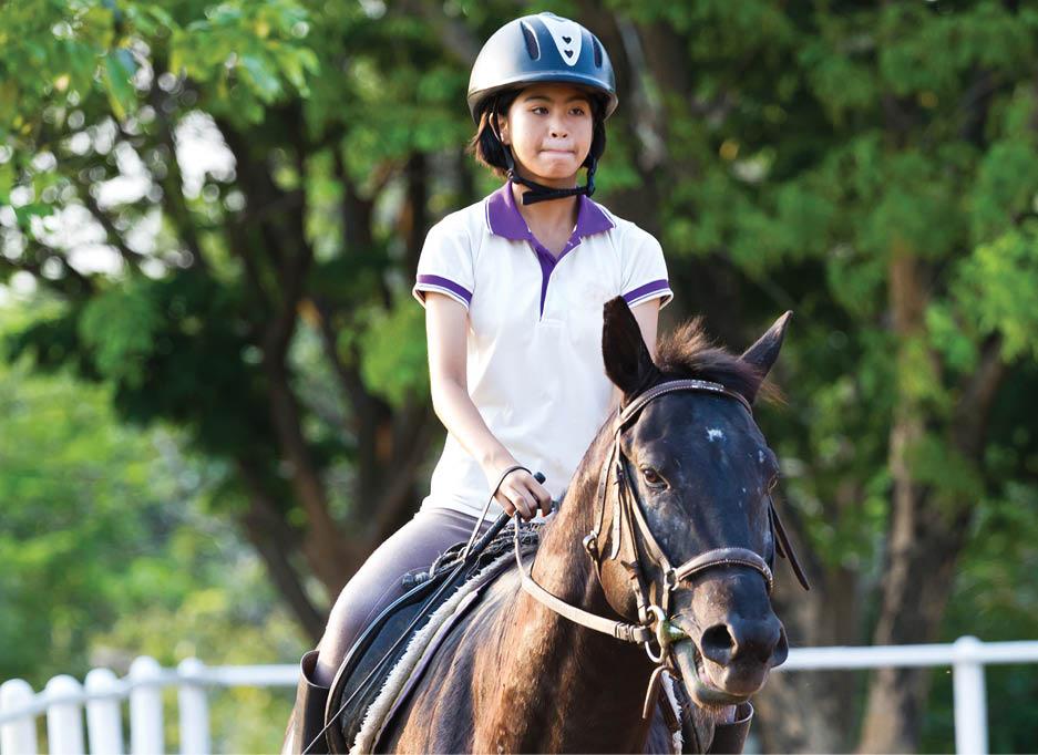 Equine: A girl riding a horse